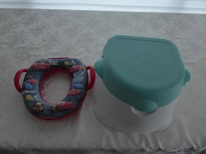 1 Disney Car's Softy Potty Seat and 1 toddler blue potty