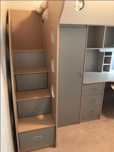 2 Kids loft beds with desk and locker - $300.00 each O.B.O