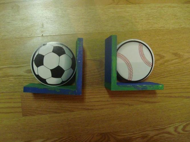 2 Like New Wood Sports Bookends - $1 both