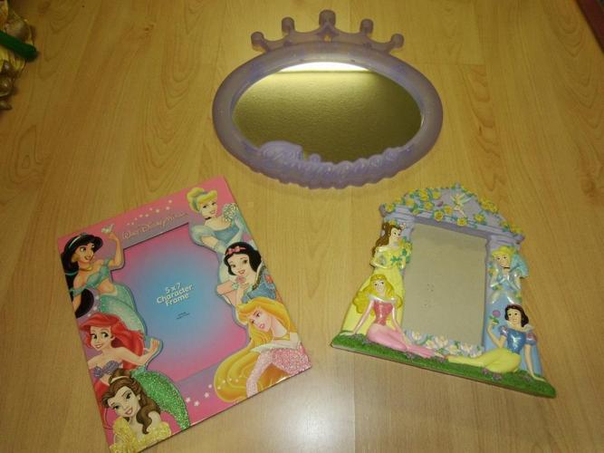 2 Princess Picture Frames and Mirror