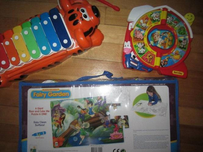 Assortment of toys/instruments and puzzle