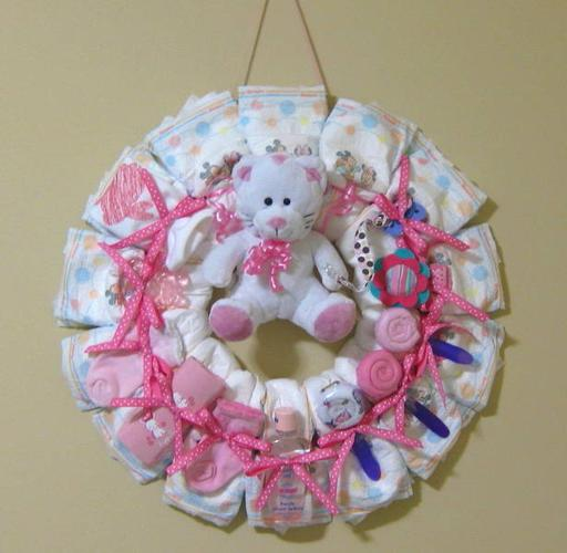 Baby Diaper Cakes and Wreaths