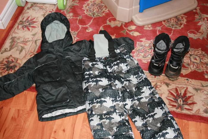 Boys Snowsuit (3T), Boots(size 10) and Hat