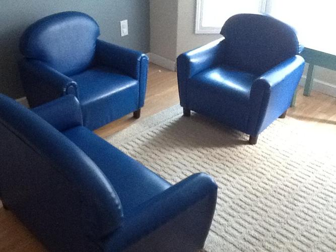 Child size sofa and two armchairs