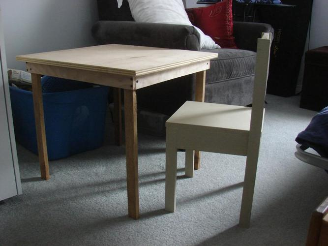Child's Wood Table and Chair