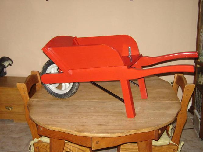 Childs wooden wheelbarrow