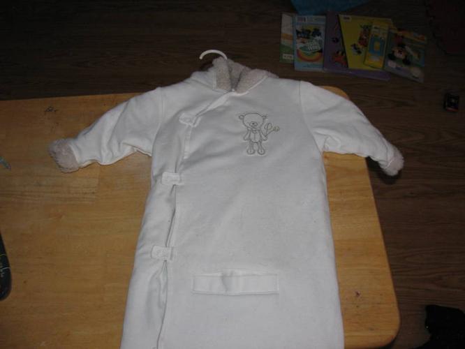Cream/ beige car seat snow suit $15.00 OBO