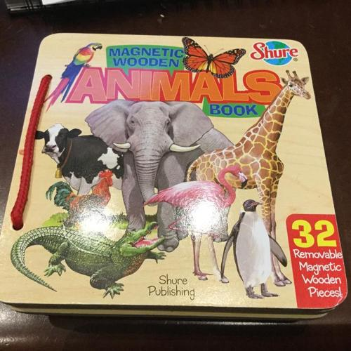Educational Toy by T.S. Shure, Animals Wooden Magnetic Book