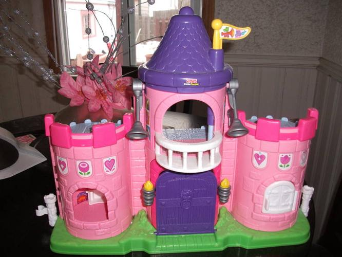 fisher price pink little people interactive castle with people for