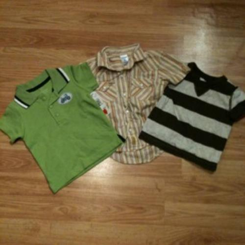 Five 6-9month tshirts and collared shirts
