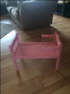 handmade pink doll bed