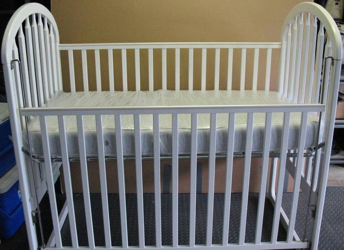 Little Folks White Maple Baby Crib With Mattress For Sale