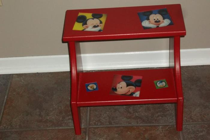 Mickey Mouse 2 step solid wood stool