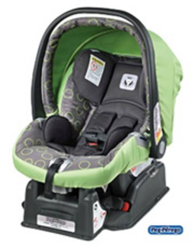 Peg Perego stroller and carseat in green bubbles