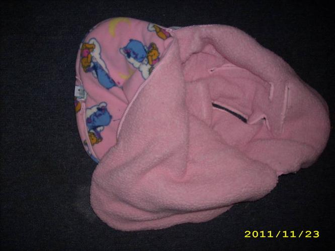 Pink Car Seat Cover and Green Snow Suit