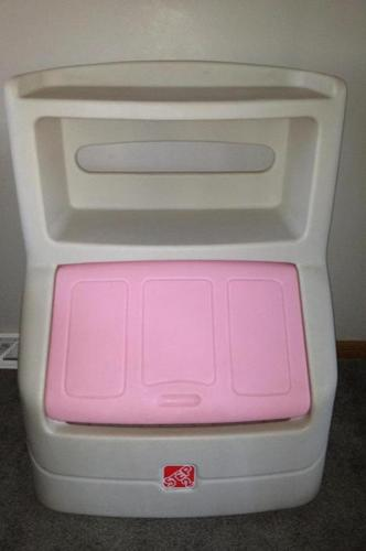 Pink Step2 Toy box with shelf