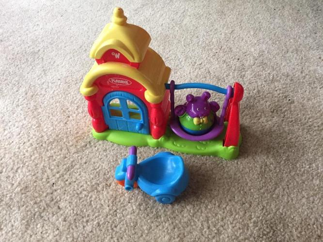 Playskool Weeble wobble swing set and tricycle
