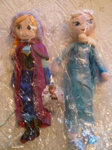 Plush Elsa & Anna Dolls, New in Pkg