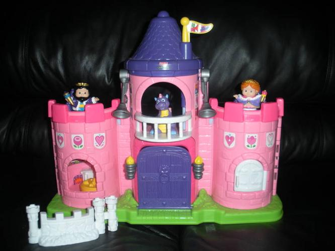 TWO SETS: Little People Lil' Kingdom Castle (pink)& Magician Set