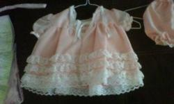 3 baby girl dresses 10.00 each - all were dry cleaned but left in my daughers closet for yrs shes now 2 need to get rid of asap jus taken up space! emails only please! ones Peach (with bootie shorts), Purple , Pink (with Booty shorts)