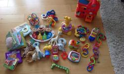 $25 for them all. All toys in great condition. Some of the items good until child is 12 months.