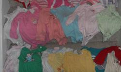 Approximately 100 pieces of baby girls clothes (size NB to 6 months)including: - tons of onsies - sleepers - pants, shirts - hats - socks - shoes - bikini - sleepers - jeans - panty hose w/ ruffled bum ....less than 50 cents an item if you buy the lot for