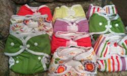 I have 10 brand new Thirsties Duo Diaper, size 1 fits 6-18lbs. Colors are 2 Rose, 1 Honeydew, 1 Orchid, 2 Meadow (w/snaps), 2 Warm Stripes, and 2 Alice Brights. These diapers each come with 1 microfibre and 1 hemp insert that snap together. Paid
