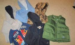 1st picture - 1 vest with detattachable hood and 5 sweaters. 2nd picture - splash outfit and overall and tshirt set. All in great condition, $10 each picture.