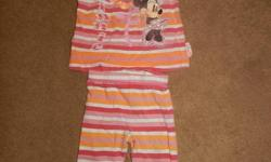 """Pic #1 - 18M Disney Minnie Mouse Outfit $3 Has a little black mark on the left knee - shown in pic Pic #2 - 12M Carters Outfit """" I'll always be daddys little girl """" also have this outfit in 18M $5 each Pic #3 - 12M Outfit $4 Pic #4 - Disney Piglet """"Sweet"""