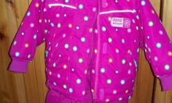 Both jacket and snowpants are in excellent condition.  Sizing is generous, so it may be roomy enough for next winter!  Matching  mittens with velcro closure and kitty hat included.  Too cute to miss :) NO EMAILS PLEASE. Call 485-6273 if interested