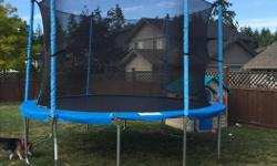 -12' Jump Tek Trampoline. -Less than 1-year old, used by our 2 year old. -Currently set up for viewing, happy to help out with take-down. A link to reviews: http://reviews.canadiantire.ca/9045/0840211P/jumptek-jumptek-trampoline-12-ft-reviews/reviews.htm