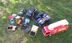 12 Plastic Trucks, cars and tractors all for $20 Great for summer fun well used toys but a lot of fun still to be had