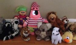 Various sizes, all in very good condition. Includes older character like Alf and Patrick along with tigers, bears, zebra, etc. I have some other children's items listed, open to offers if interested in any of the other things.