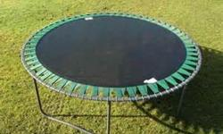 14' trampoline with reinforced eyelets. Well used, but in great condition. Email or call 250-710-8121.