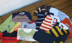 14 boys long and short sleeve shirts + 1 sweat shirt 1 navy sweat shirt size 18 months never worn 7 long sleeve shirt with varied prints 3 @ 12mon & 4 @ 18mon see pic 7 t shirts 2 @12mo 3 @ 18mon and 2 @ small 24mon will fit at 18mon in my opinion no
