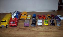 17 toy car set for sale in Truro 14 hotwheels and matchbox mix,2 buses and 1 fire truck.Plus service station garage.$15.firm.