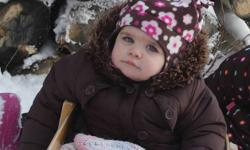 Very cute snowsuit, has detachable booties and mittens (I did not use them). Includes co-ordinating hat and mitts. Good used condition and very clean.   The snowsuit could be picked up at my husband's place of employment, a few blocks from Costco Mon to