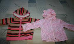 "Miscellaneous items available in Size 18 Months.  All in mint condition from smoke-free home. Osh Kosh Fleece Zip Hoodie with ""fur"" lined hood, $8 Carter's Polar Fleece Pink Leopard zip hoodie, $8 Carter's 1pc. Pink and Navy Striped Hooded Play Suit, $8"