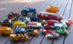 We are cleaning out the garage and selling 22 1970s Tonka, Ertl, Fisher Price trucks, Jeeps, race cars, construction and tractors. All have been played with and are not in perfect condition. Also included are 11 WWII model planes and 15 WWII model ships.