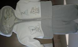 """Sweet outfits great for the colder weather. 2 piece fleece outfits includes fleece pants and fleece zip up jackets. Blue one is Carter's and reads """"Daddy and me"""" the other is by Miniwear and is white and grey reads """"2 little friends """" . From"""