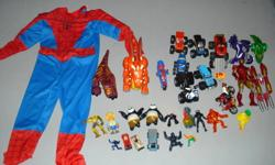Bag of misc boys toys including a size 4-6 spiderman costume $15   Bag of misc girls toys including a fisher place digital camera $15