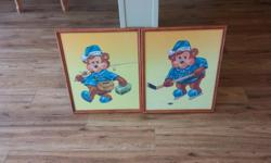 Perfect shape Cute pictures with wood frame. Size - 17 inches by 21 inches Call 250-709-2779
