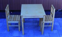 In very good condition, no refinishing needed, solid poplar and sturdy.