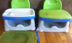 Two booster seats with jremovable (dishwasher safe) food trays. Good condition. $20 each. Please text only for info.