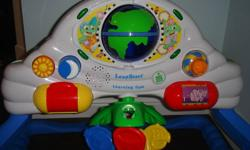 Learning Gym has 2 positions (baby laying on back and baby sitting upright). Plays world music, introduces baby to greetings in 5 different languages, spinning mobile, very interactive. See and Learn driver has 5 different settings (letter sounds, letter
