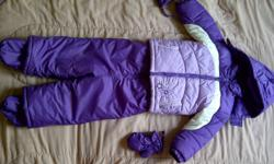 Nice alpinetek snow suit with mittens and boots. (size 30 LB) grown out sale from my twin daughters. check my other ads!
