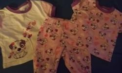 The doggie shirt's and pants are pjamias just gotta find the shorts that go with them. , Sleepers are 1 doller per one. There will be more items posted, I just got 2big blue toats full of girl clothes from Newborn- 6months so far.