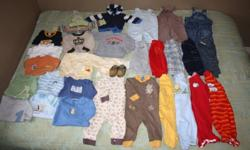 Lot of baby boy 3-6 month clothes.  Includes Old Navy, Gap, and Zara Baby sweaters; Gap, Joe, and Small wonders long sleeved onesies; Please Mum, Old Navy, Children's Place, and Gap pants/overalls; Robeez shoes, plus other pants, onesies, sleepers.....all