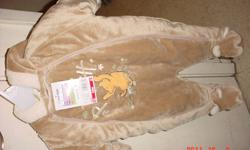 hi i am selling a brown winnie the pooh one piece snow suit for 40.00 the tag is still on it i had it bought for me and my daughter was to tiny to fit into it when she was born and by this winter it is gunna be to small for her so i would like to sell it