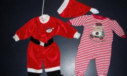 Excellent Conditon, Smoke Free Home, No Rips/Stains   Santa Suit only worn a few times for pic's with the family and Santa, has snaps in the legs for easy access to diapers, retails for $30+tx asking for $10.   Baby's 1st Christmas sleeper was only worn